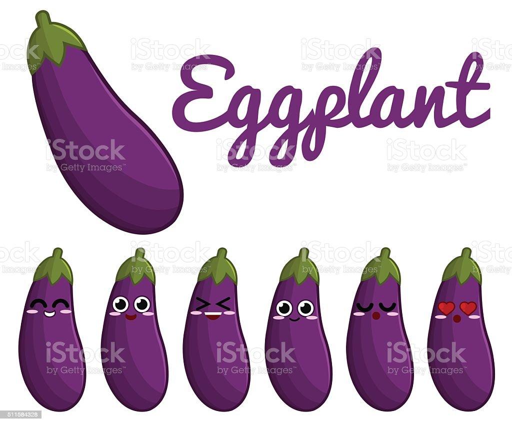 Eggplant character vector art illustration