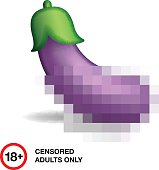 Eggplant closed by censorship, symbol adult only
