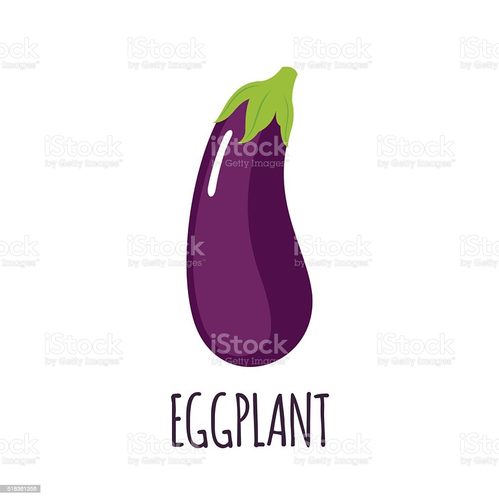 Eggplant icon in flat style on white background vector art illustration