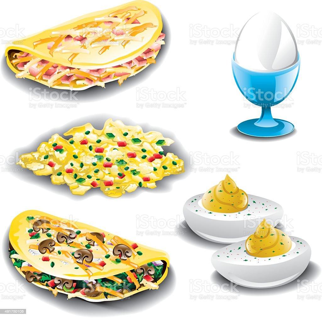 Eggs assorted vector art illustration