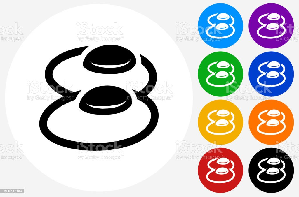 Eggs Icon on Flat Color Circle Buttons vector art illustration