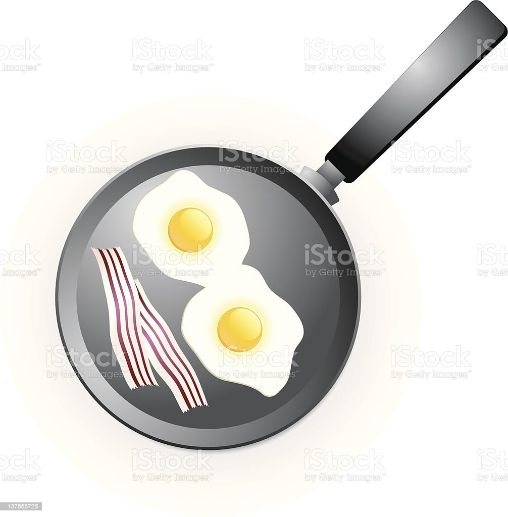 Eggs on a frying pan with bacon royalty free vector royalty-free stock vector art