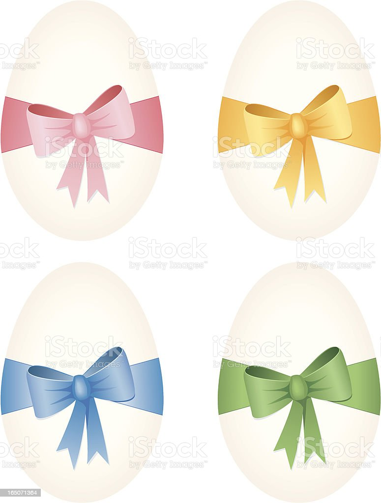 Eggs with bows royalty-free stock vector art
