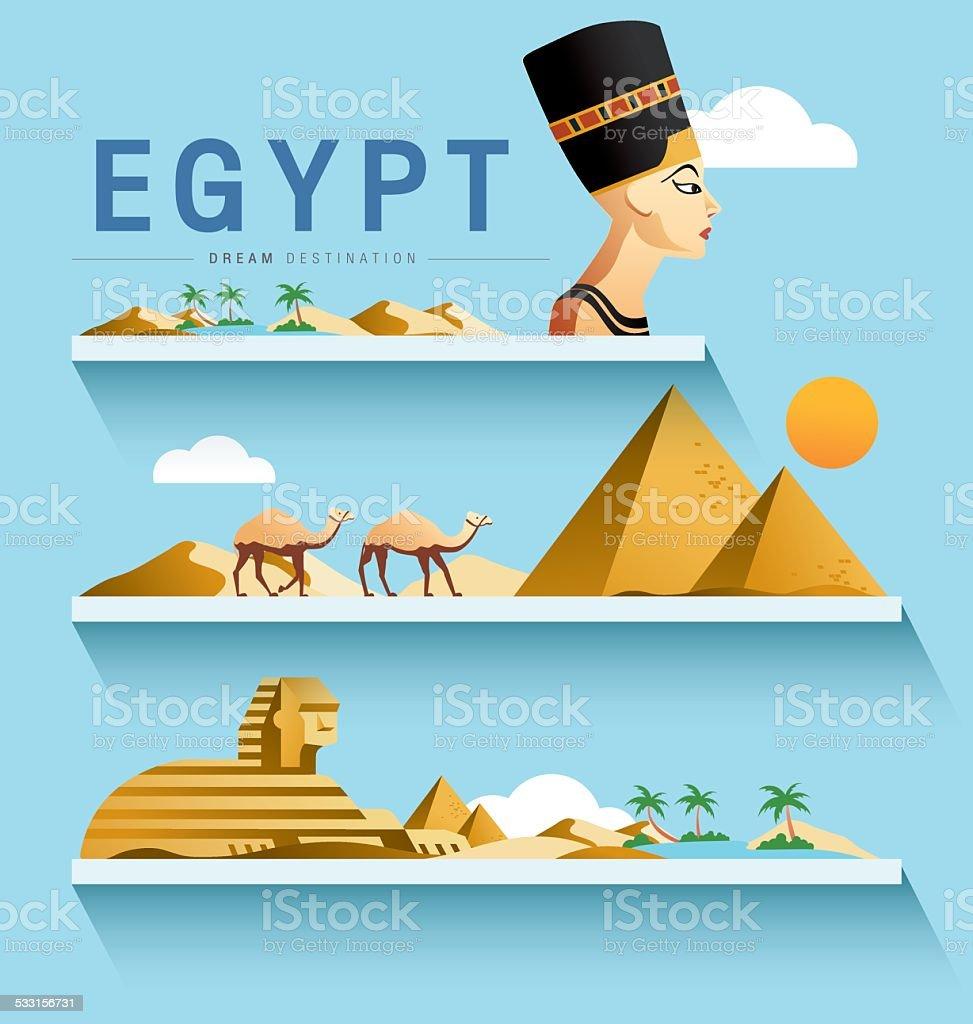 Egypt and Pyramid ,Sphinx ,Destination ,vector set vector art illustration