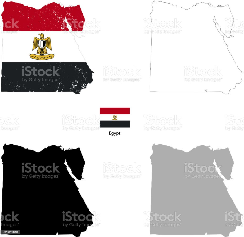 Egypt country black silhouette and with flag on background vector art illustration