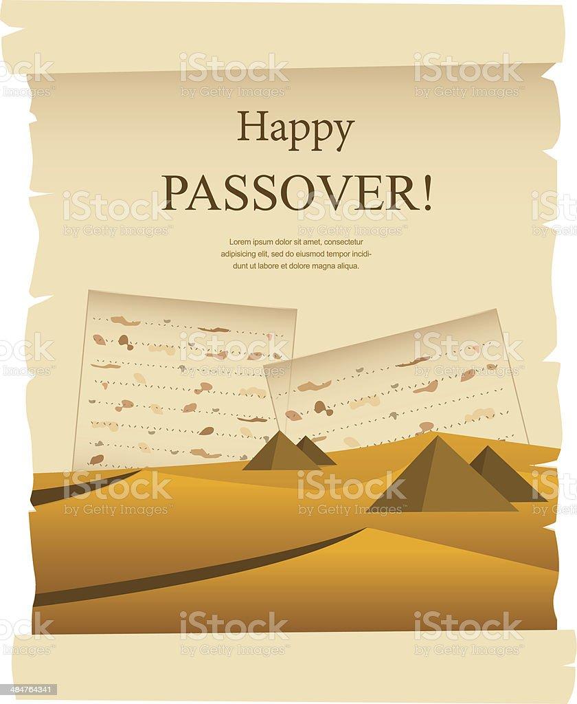 Egypt dessert on acient card. passover card vector art illustration