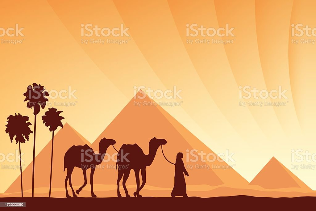 Egypt Great Pyramids with Camel caravan on sunset background vector art illustration