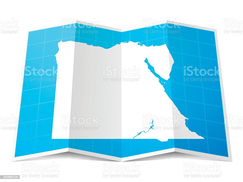 Egypt Map folded, isolated on white Background vector art illustration