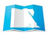 Egypt Map folded, isolated on white Background