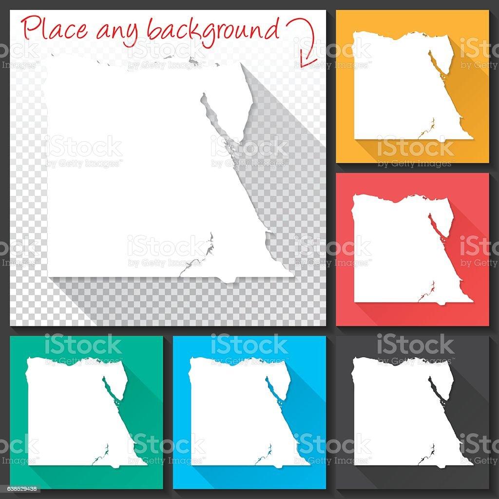 Egypt Map for design, Long Shadow, Flat Design vector art illustration