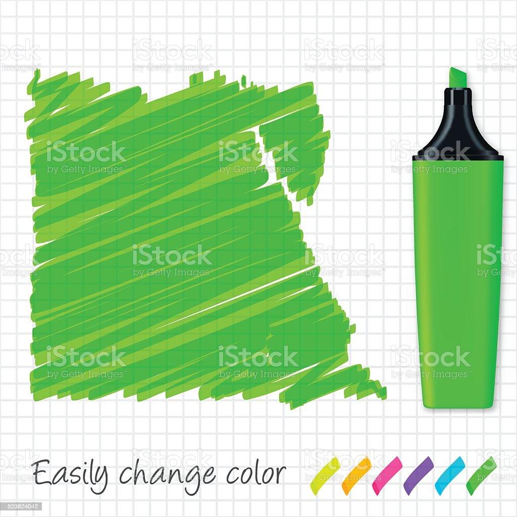 Egypt map hand drawn on grid paper, green highlighter vector art illustration