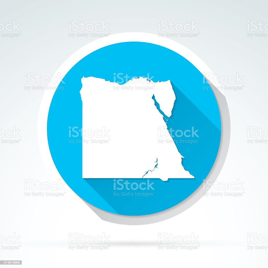 Egypt map icon, Flat Design, Long Shadow vector art illustration