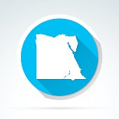 Egypt map icon, Flat Design, Long Shadow