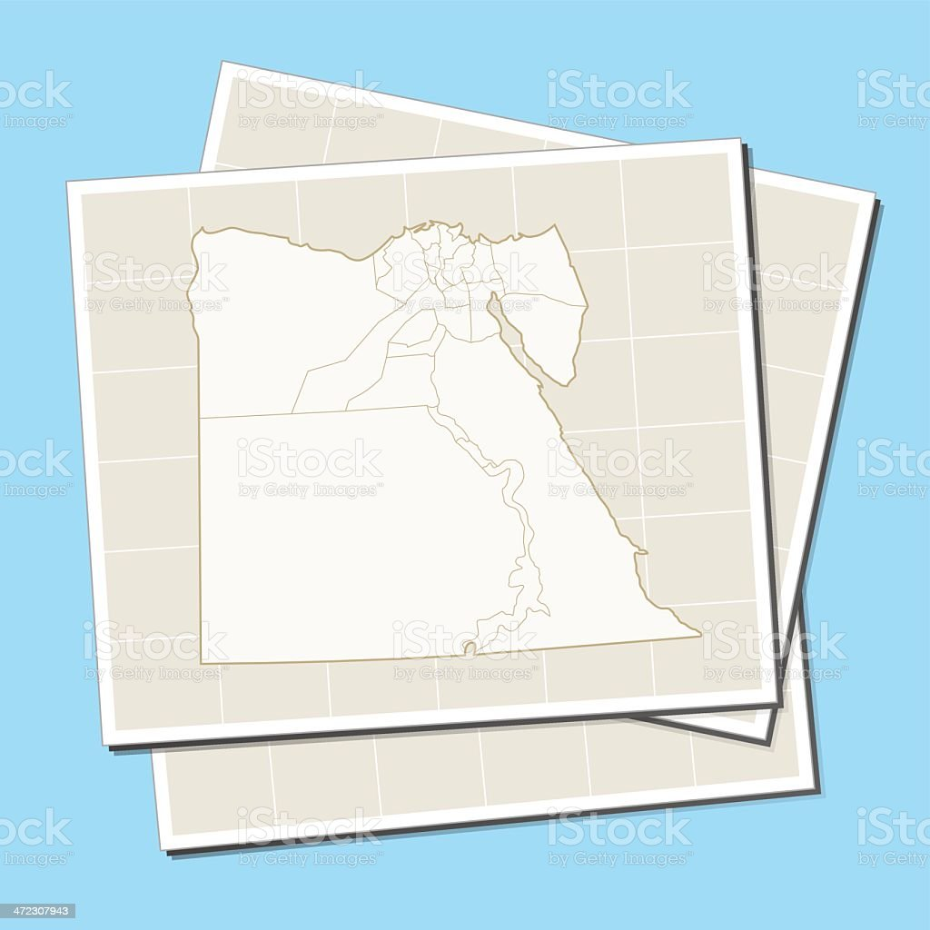 Egypt map on a sheet of paper royalty-free stock vector art