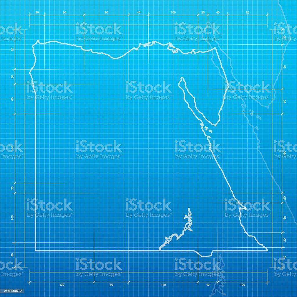 Egypt map on blueprint background vector art illustration