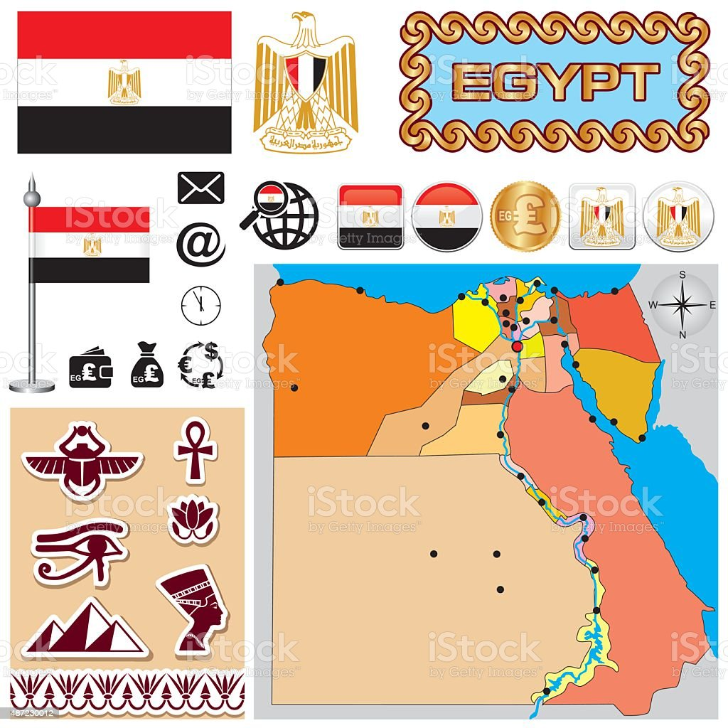 Egypt map vector art illustration