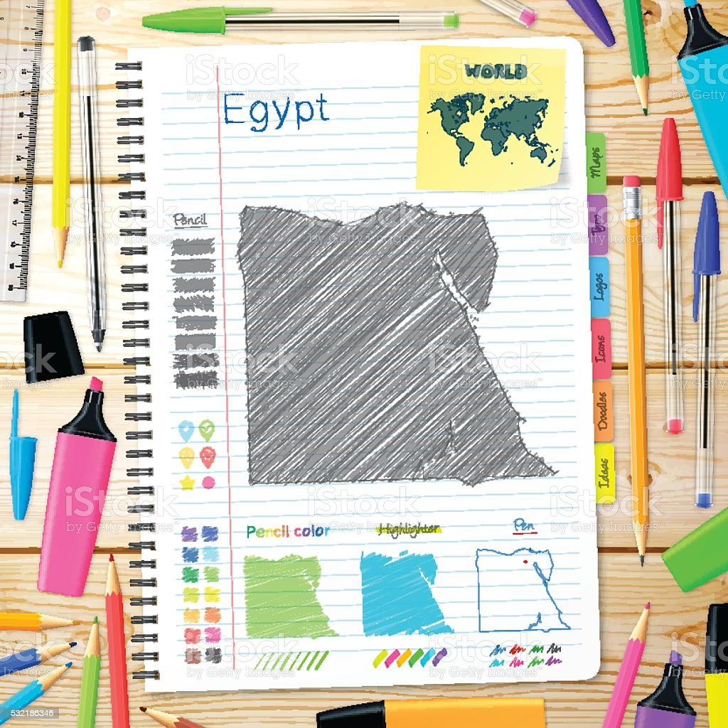 Egypt maps hand drawn on notebook. Wooden Background vector art illustration