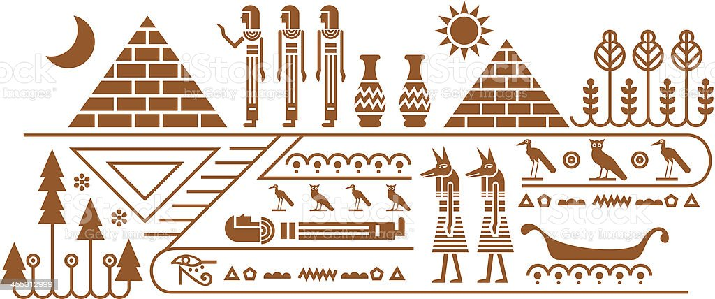 Egypt mural stock vector art 455312999 istock for Mural vector