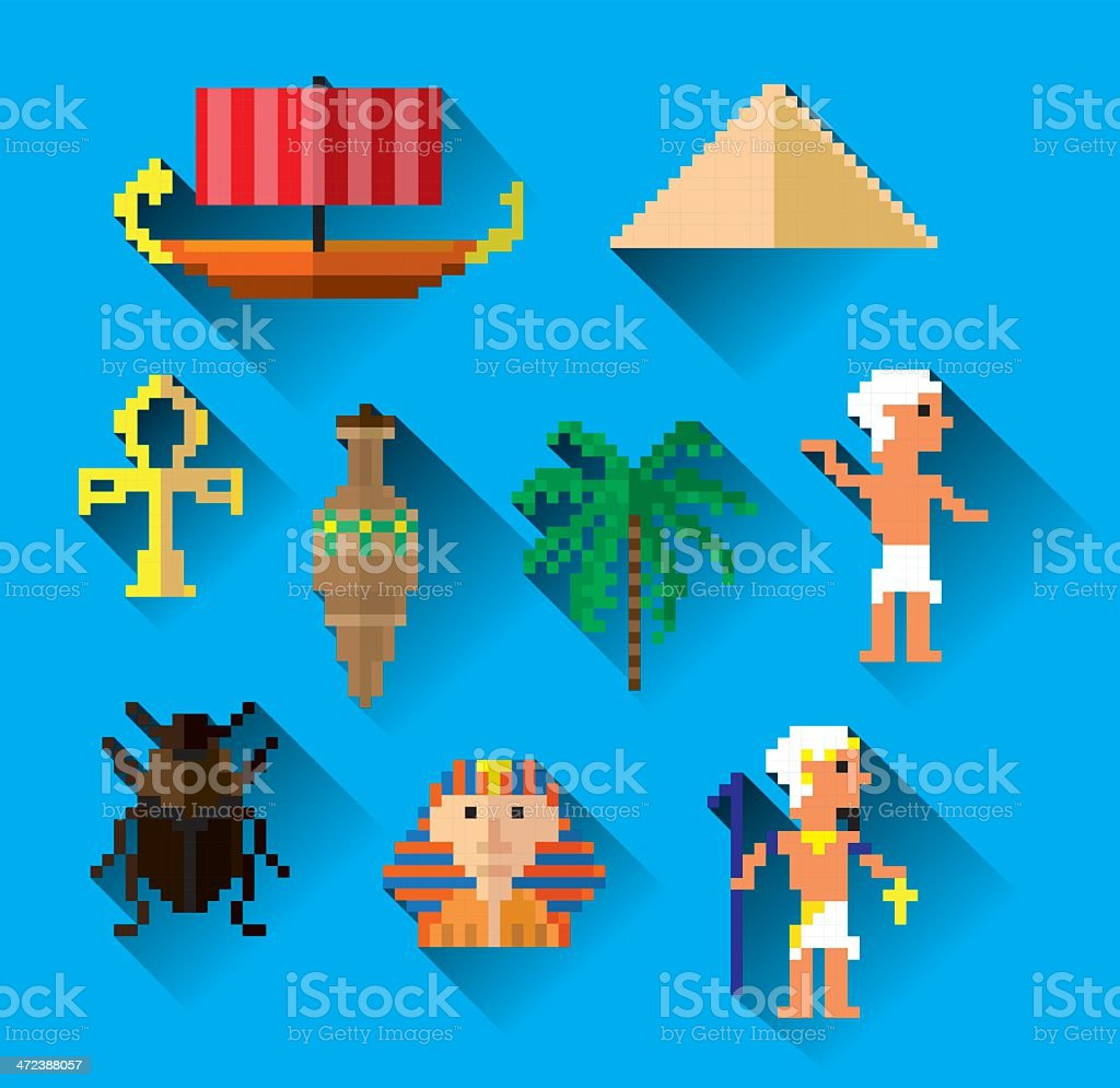 egypt pixel art royalty-free stock vector art