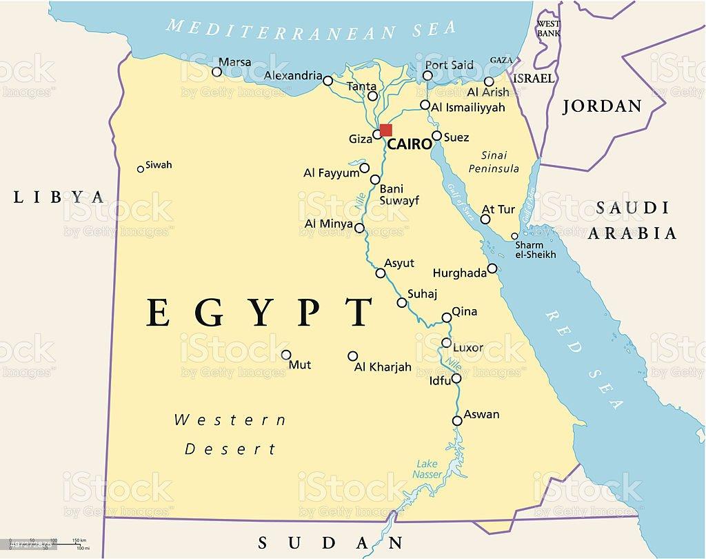 Egypt Political Map vector art illustration