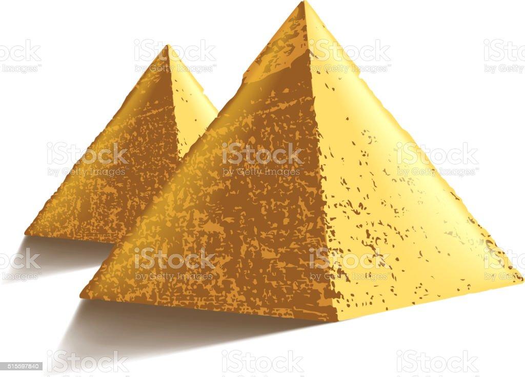 Egypt pyramids isolated on white vector vector art illustration