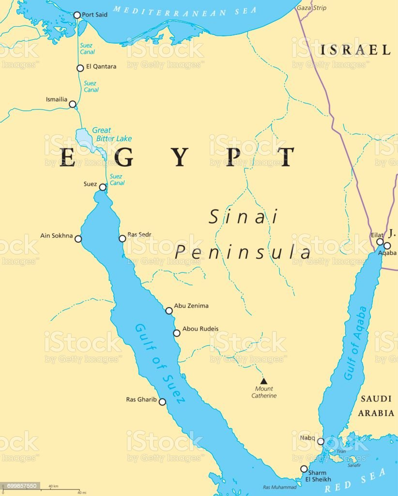 Egypt, Sinai Peninsula political map vector art illustration