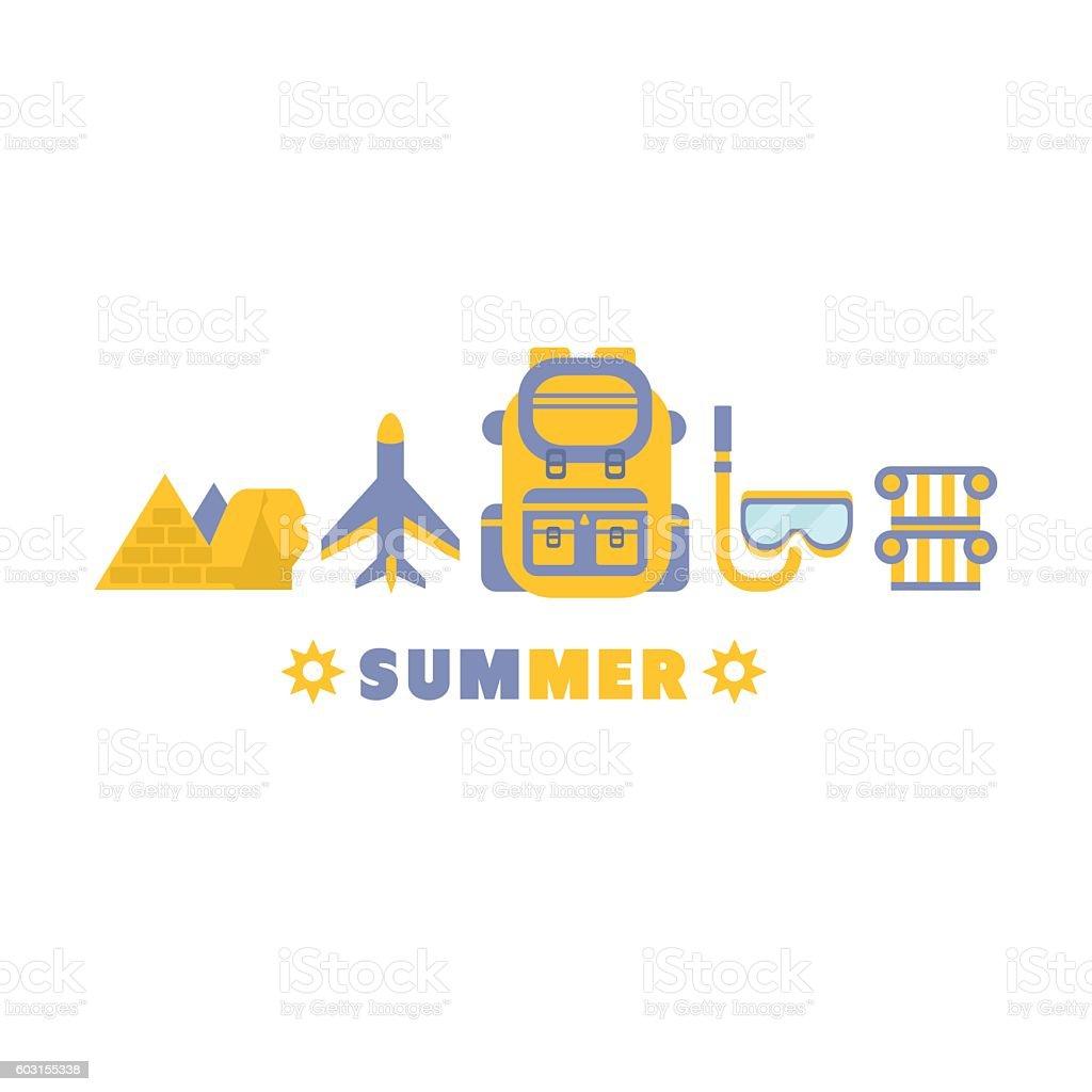 Egypt Summer Trip Symbols Set By Five In Line vector art illustration