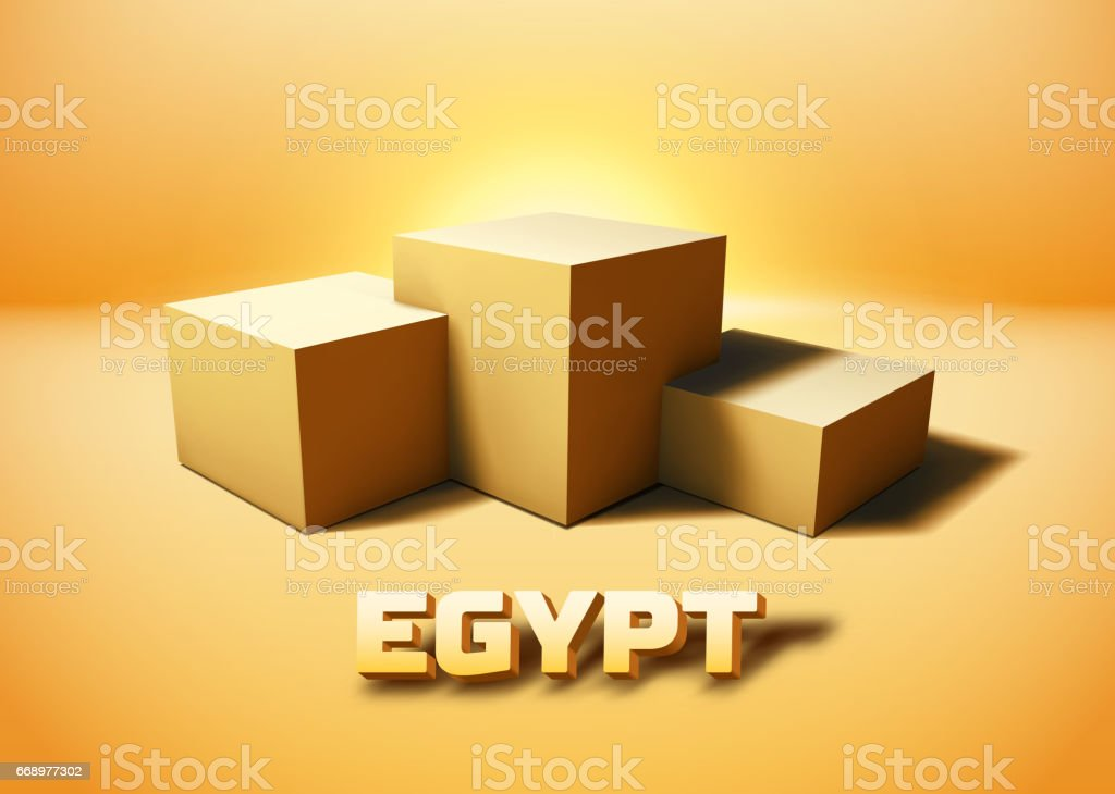 Egypt symbolic pyramid ruins represented with 3D cube pedestal vector art illustration
