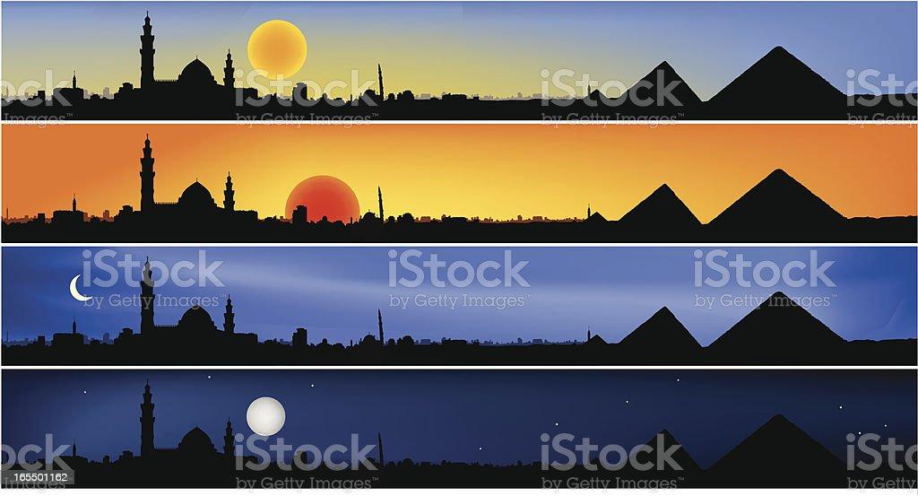 Egypt thru the day vector art illustration