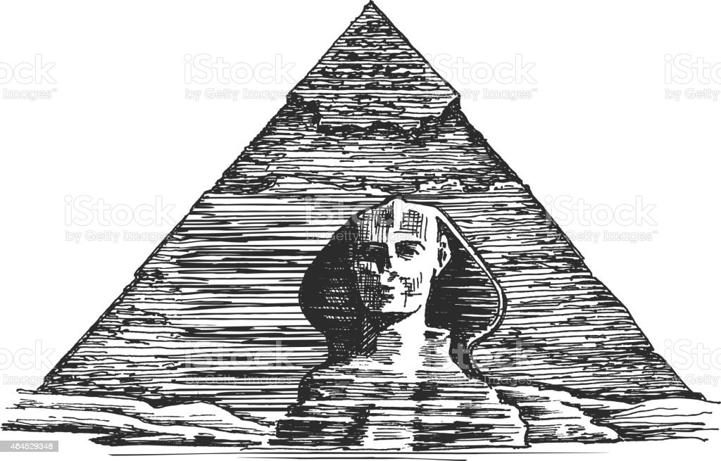 Egypt vector logo design template. Egyptian pyramid or Sphinx icon vector art illustration