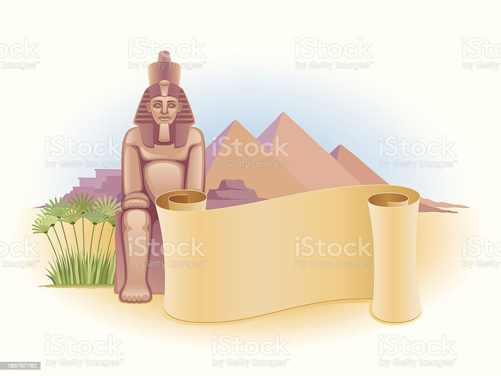 Egypt with scroll royalty-free stock vector art