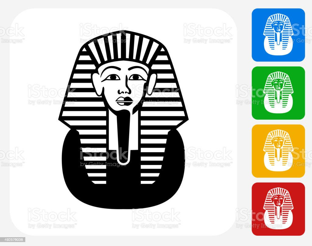 Egyptian Coffin Icon Flat Graphic Design vector art illustration