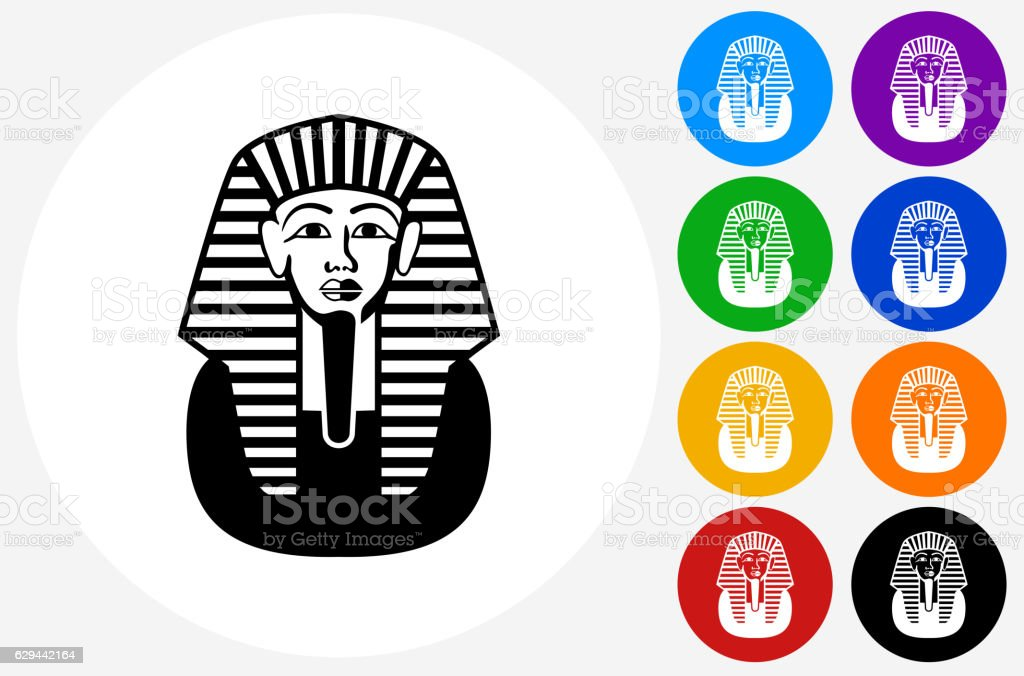 Egyptian Coffin Icon on Flat Color Circle Buttons vector art illustration