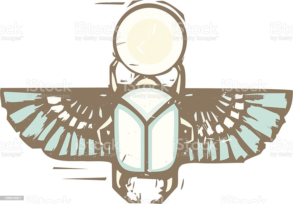 Egyptian Distressed Winged Scarab royalty-free stock vector art