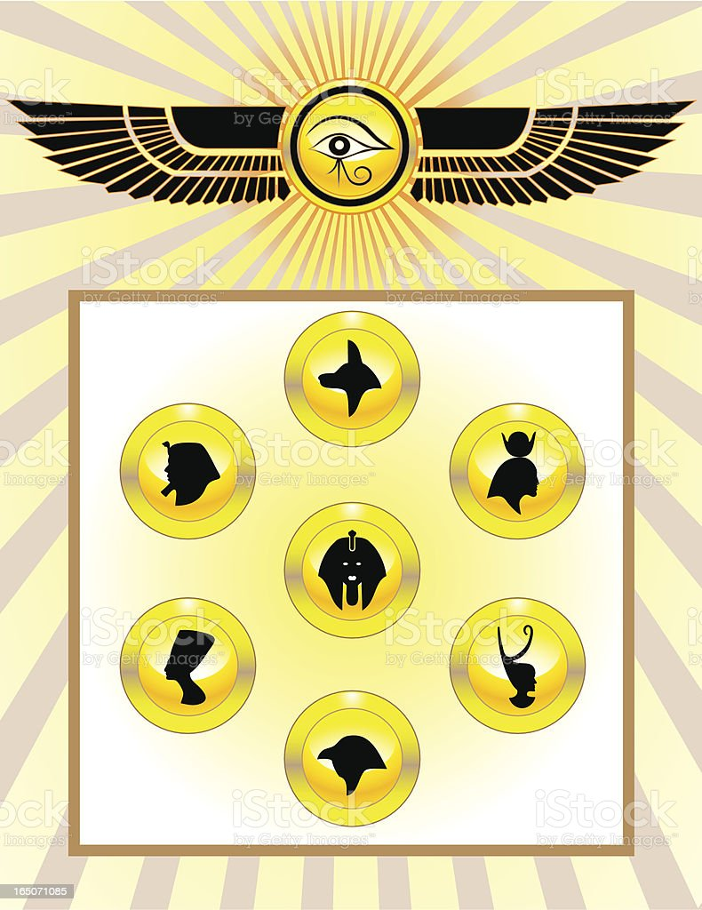 Egyptian Gods Icon Set royalty-free stock vector art