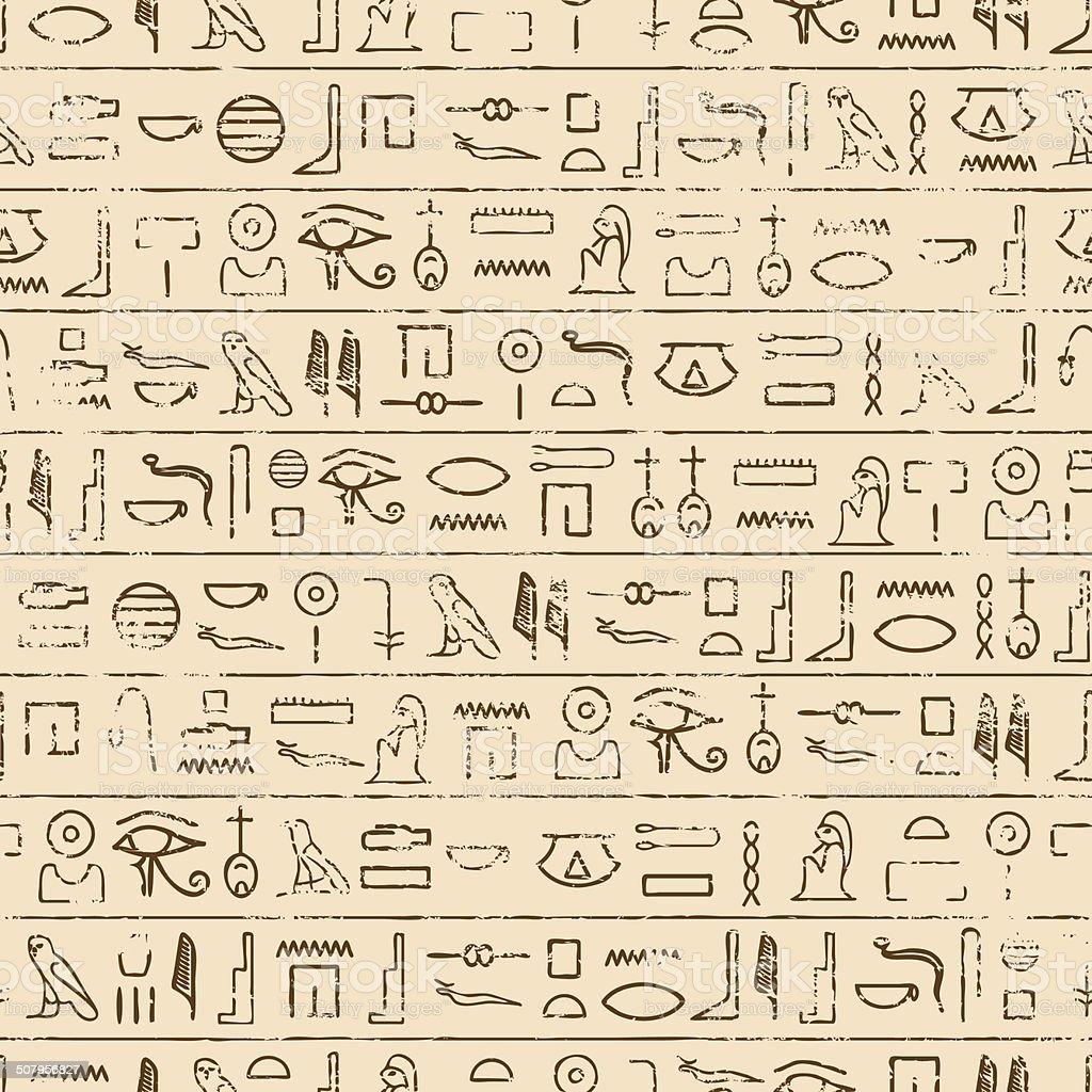 Egyptian Hieroglyphics Background vector art illustration