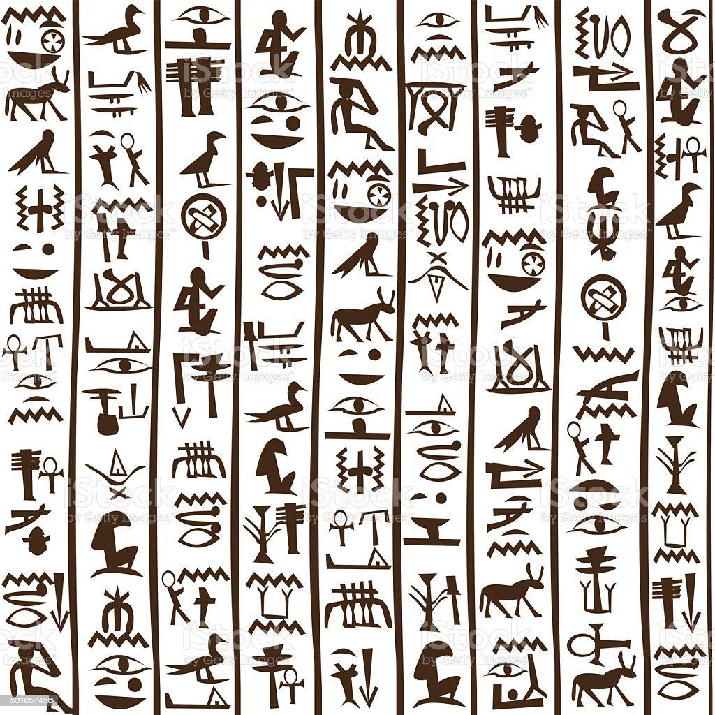 Egyptian hieroglyphics seamless background vector art illustration