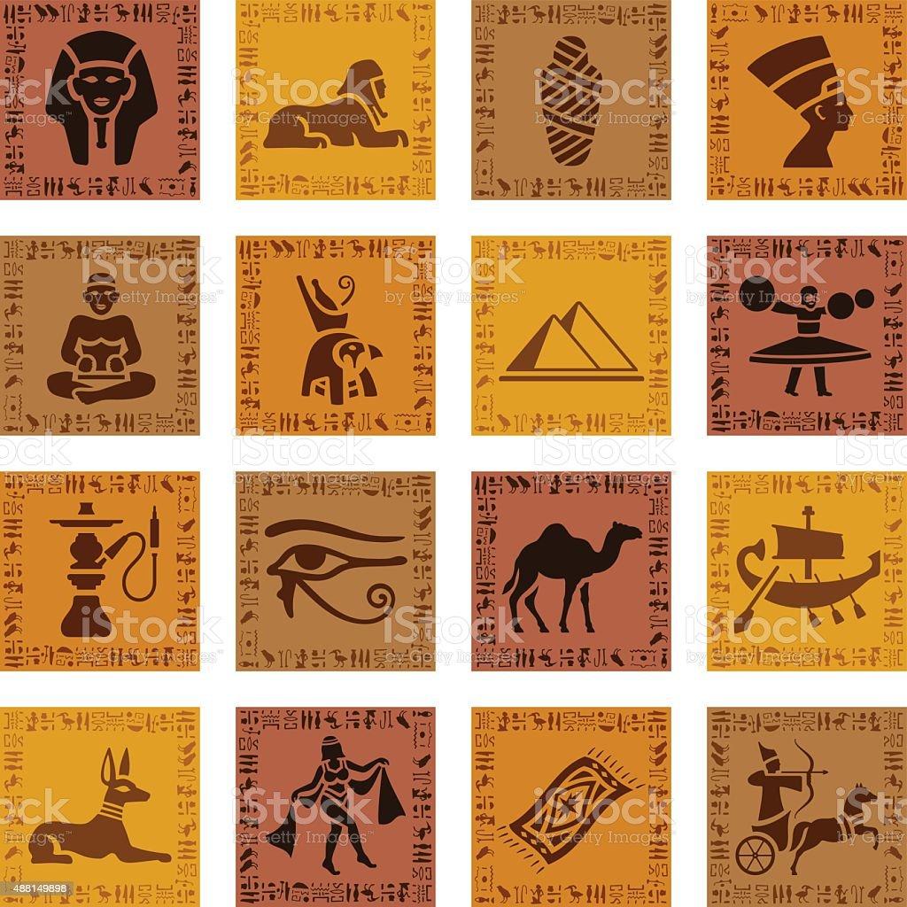 Egyptian Icon Set vector art illustration