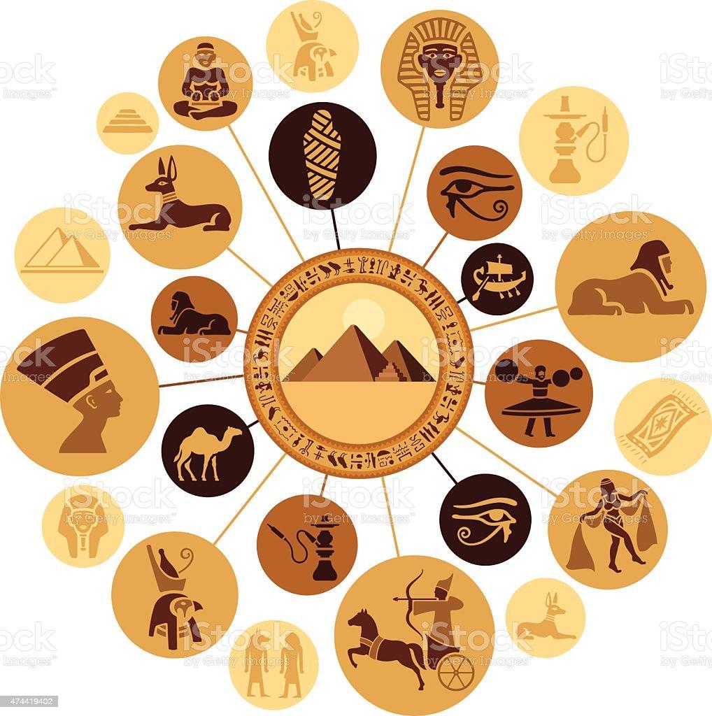 Egyptian Montage vector art illustration