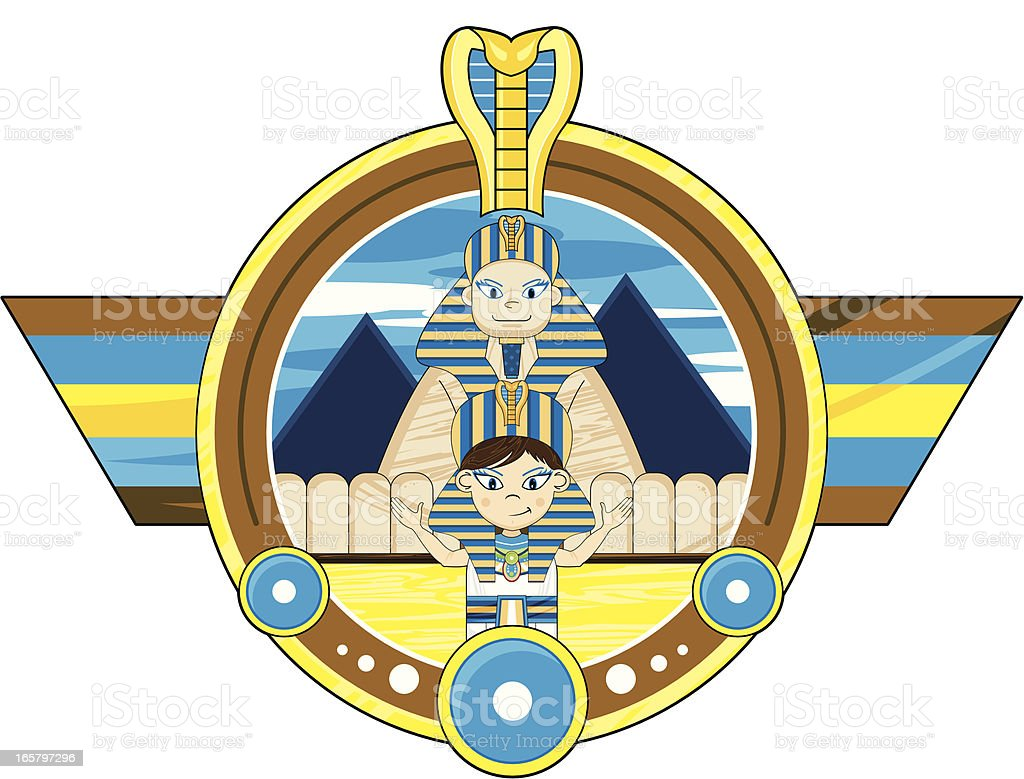 Egyptian Pharaoh and Great Sphinx Badge royalty-free stock vector art