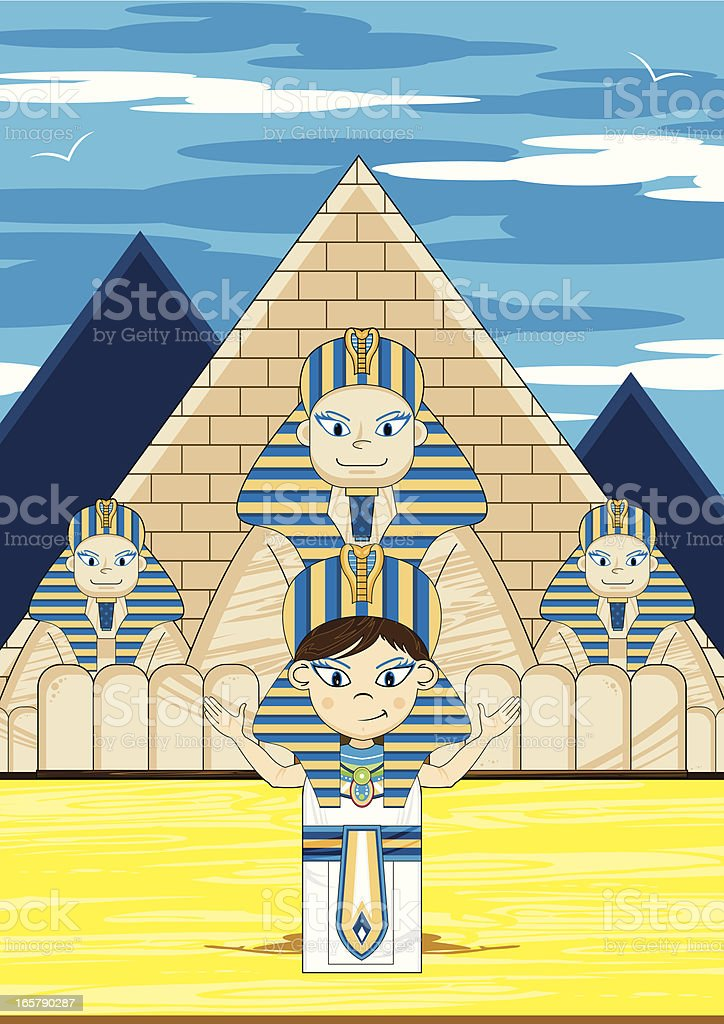 Egyptian Pharaoh and Great Sphinx Scene royalty-free stock vector art