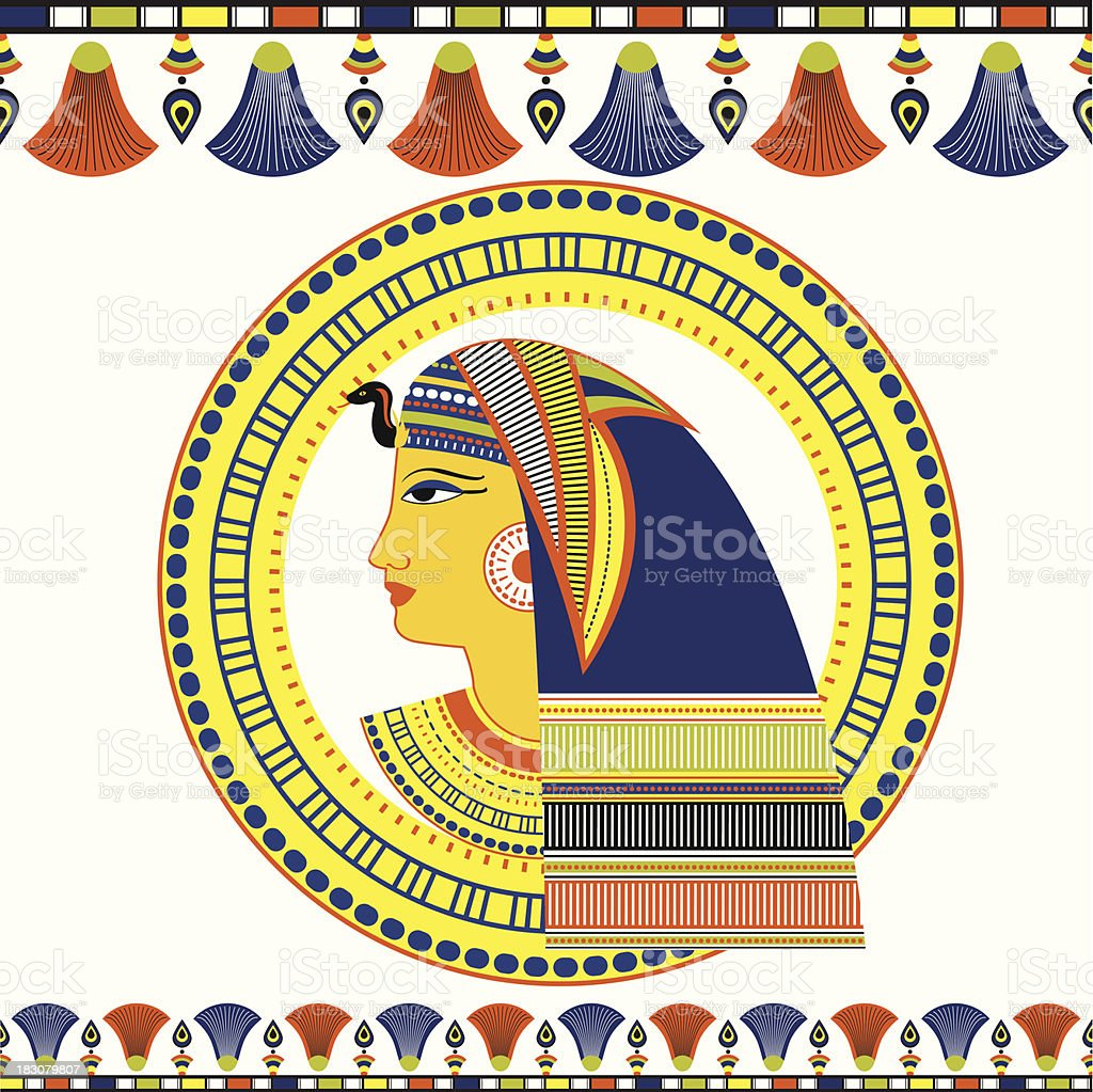 Egyptian Pharaoh head with traditional ornament royalty-free stock vector art
