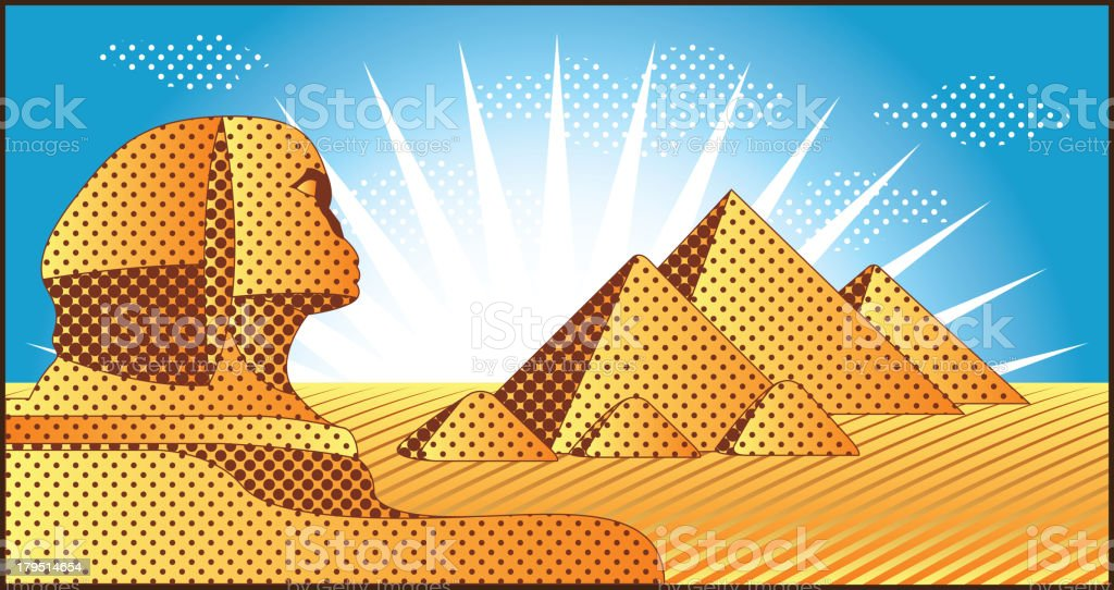 Egyptian pyramids at Giza and the Sphinx royalty-free stock vector art