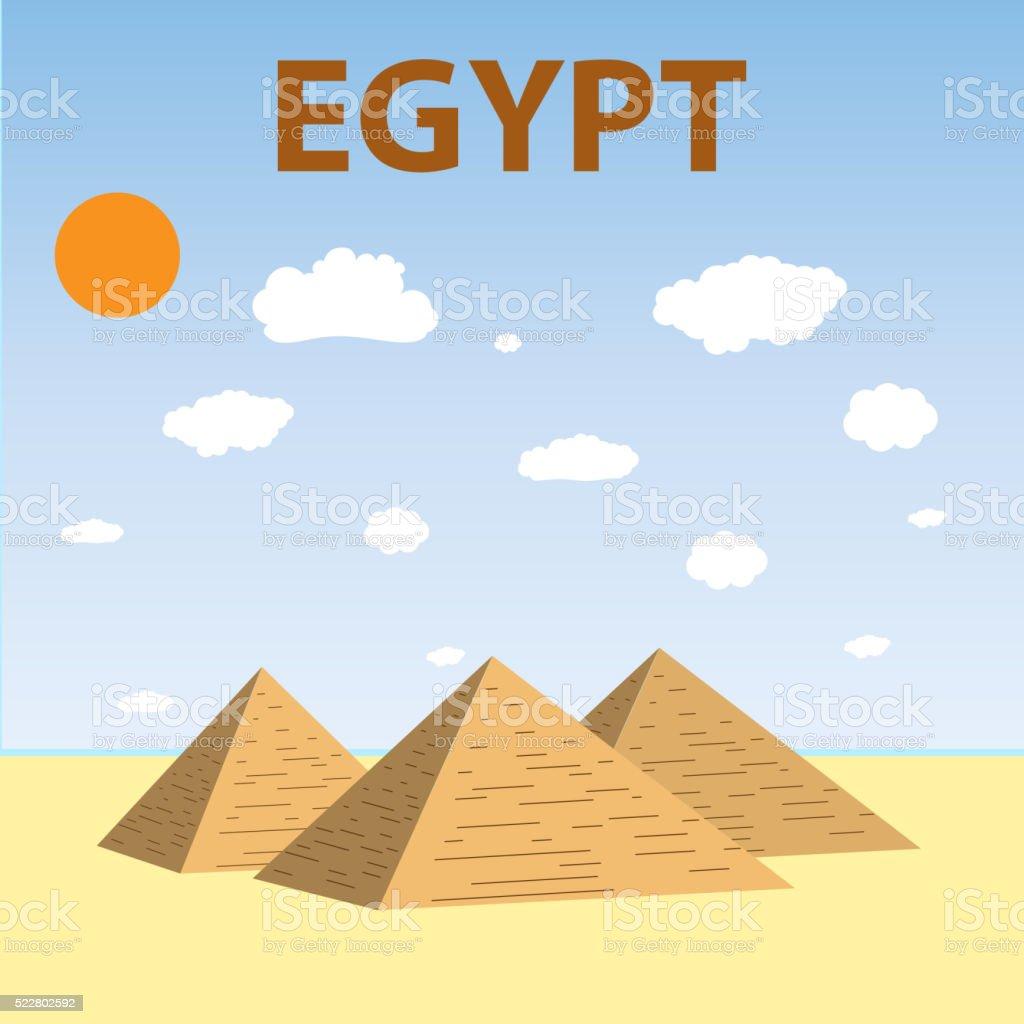 Egyptian pyramids Flat design vector art illustration