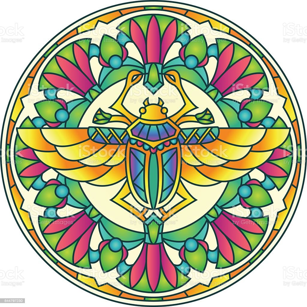 Egyptian Scarab Colorful Round Mandala Ornament vector art illustration