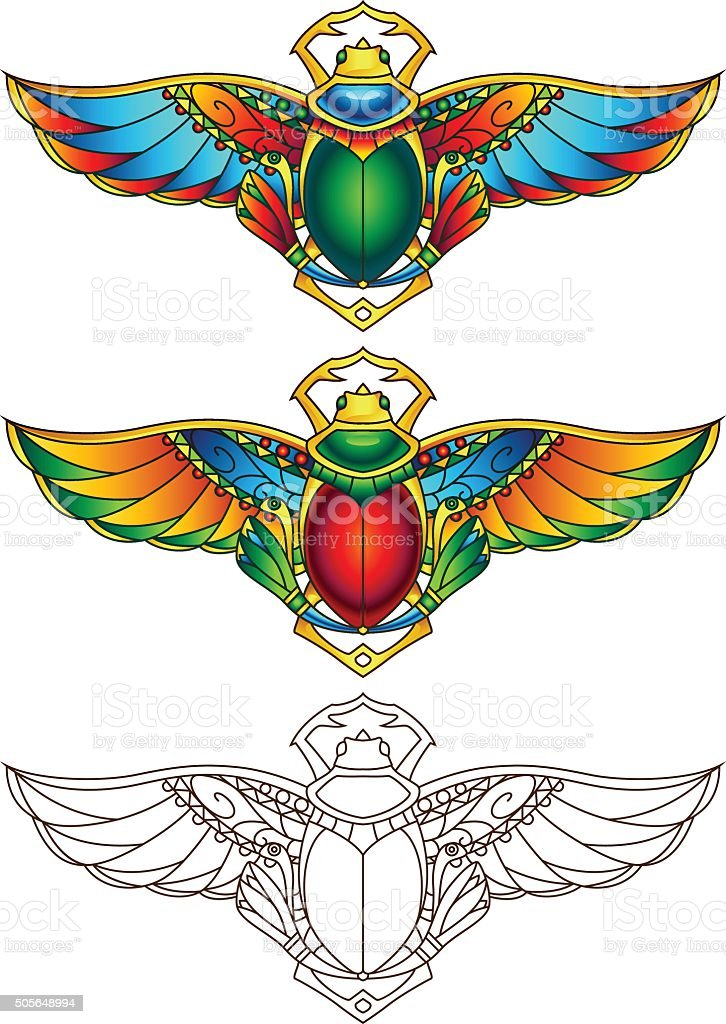 Egyptian Scarab Colorful Vector Illustration 3 vector art illustration