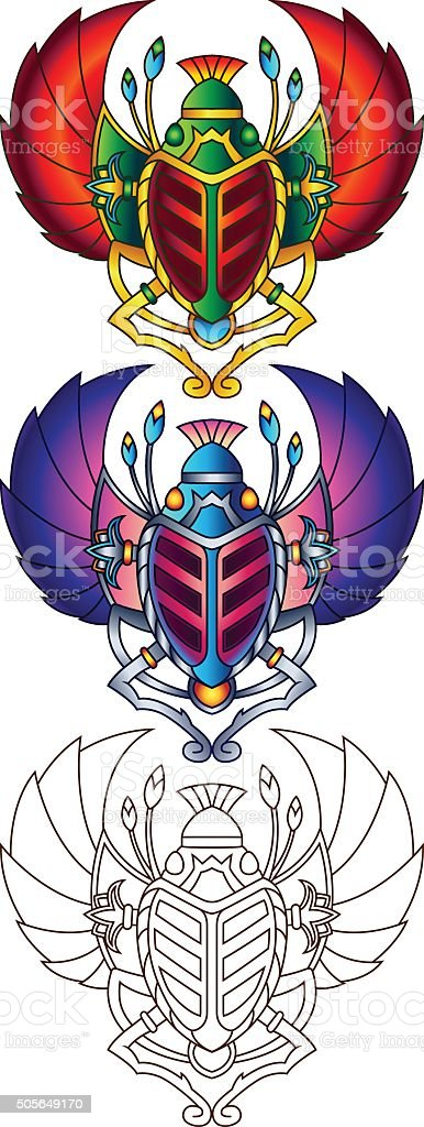 Egyptian Scarab Colorful Vector Illustration 6 vector art illustration