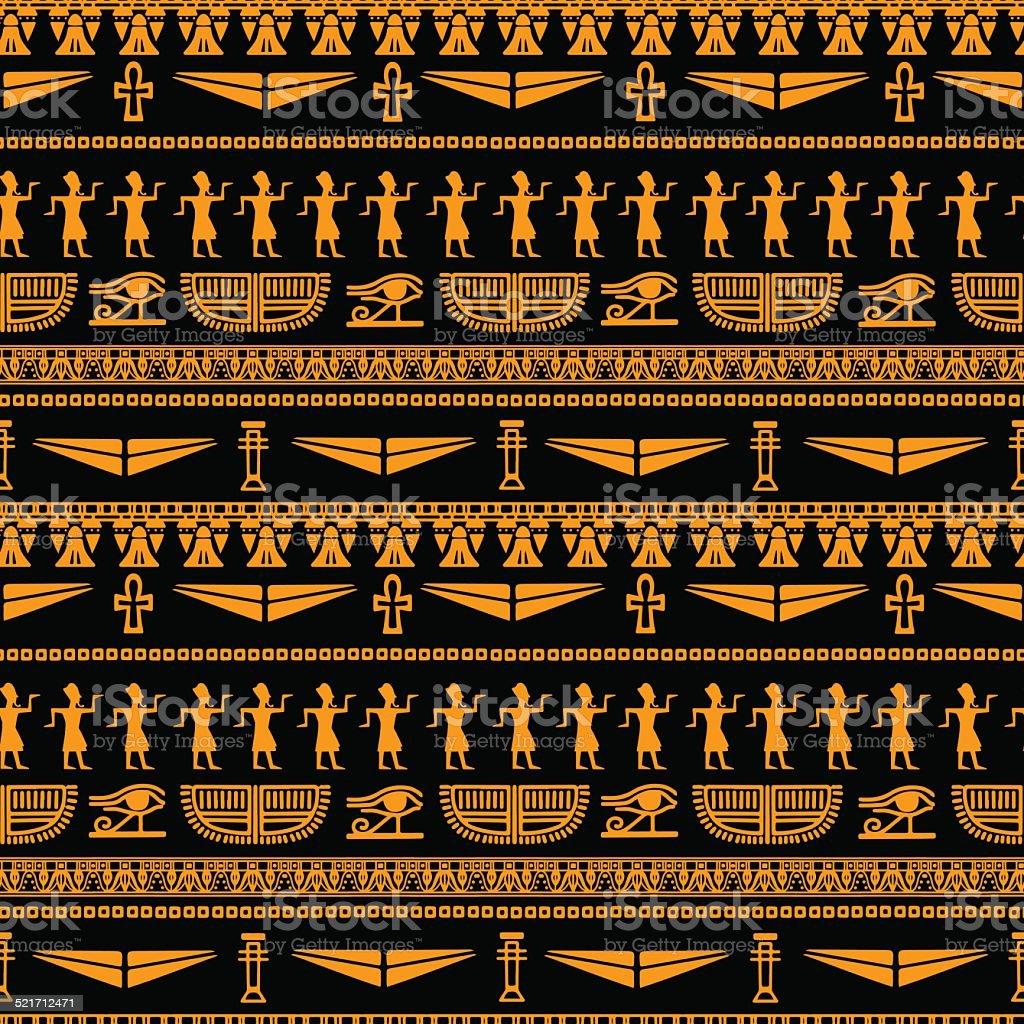 Egyptian seamless pattern vector art illustration