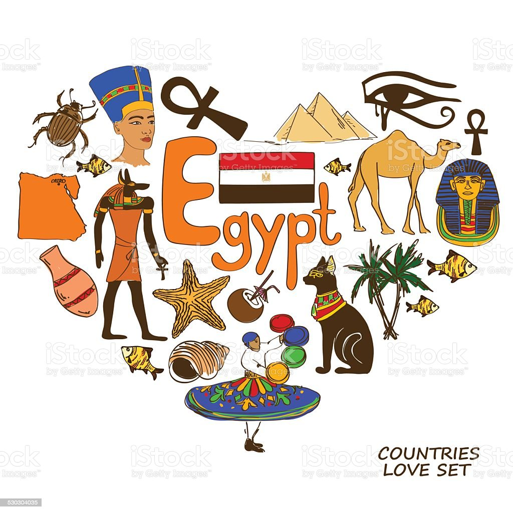 Egyptian symbols in heart shape concept vector art illustration