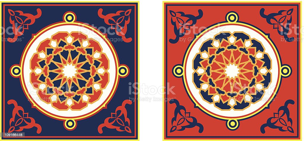 Egyptian Tent Fabric Pattern 4-Blue & Red royalty-free stock vector art